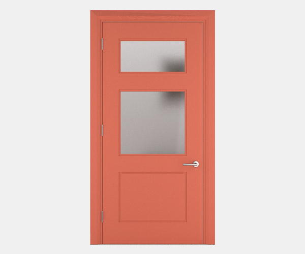Shadbolt_Rockingham_lacquered_panelled_doors_with_glass_Salmon_RAL_3022