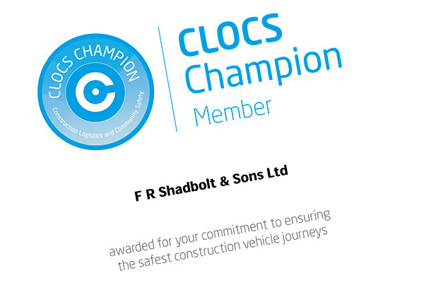 CLOCS Champion certificate awarded to FR Shadbolt & Sons Ltd